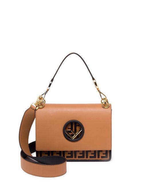 Fendi - Brown Kan I Logo Bottom Shoulder Bag - Lyst