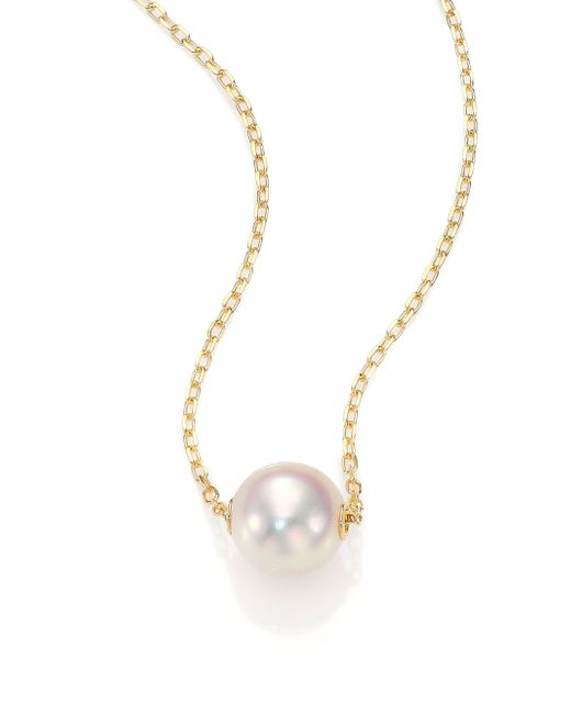 Mikimoto - Metallic 8mm White Cultured Akoya Pearl & 18k Yellow Gold Pendant Necklace - Lyst