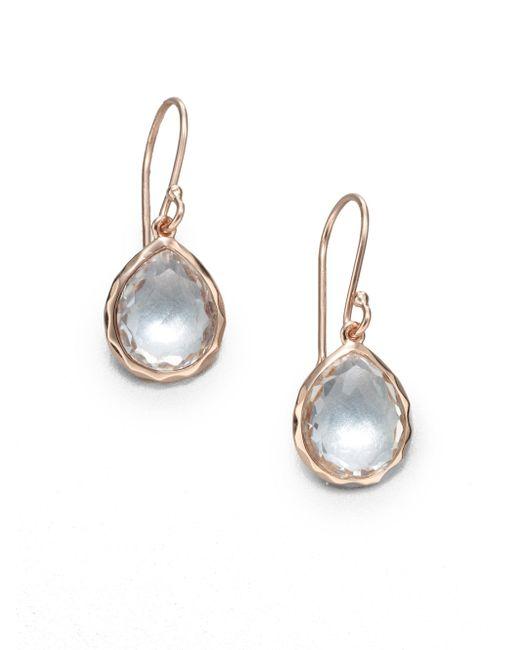 Ippolita - Pink Rose Rock Candy Clear Quartz Teeny Teardrop Earrings - Lyst