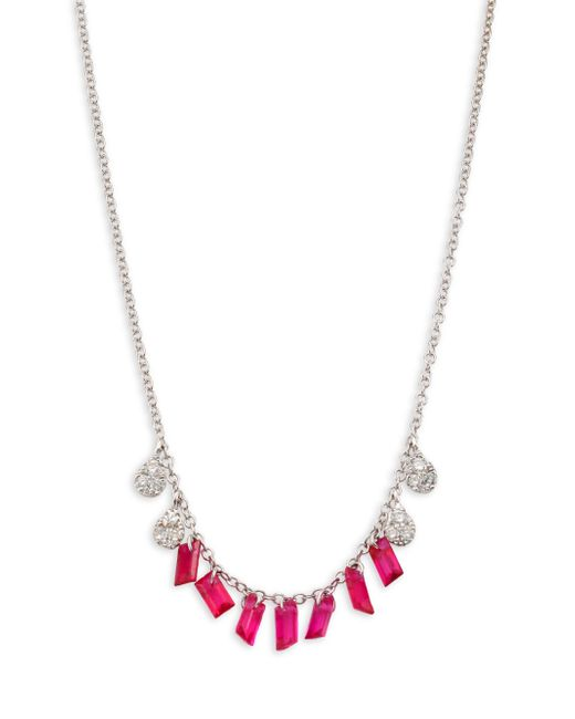 Meira T - Metallic Diamond & Ruby Necklace - Lyst