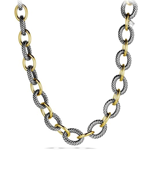 David Yurman - Metallic Oval Extra-Large Link Necklace With Gold - Lyst