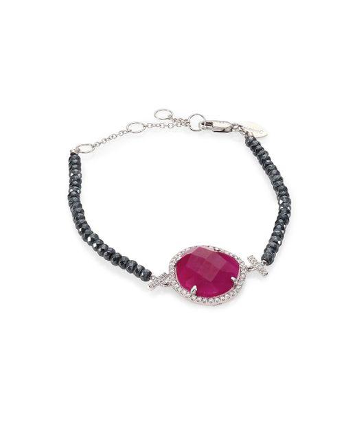Meira T - Gray Diamond, Ruby, Silverite & 14k White Gold Bracelet - Lyst