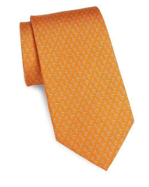 Ferragamo - Orange Silk Paperclip Giraffe Tie for Men - Lyst