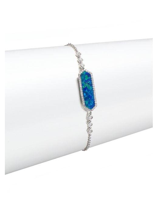 Meira T | Blue Opal, Diamond & 14k White Gold Long Hexagon Bracelet | Lyst