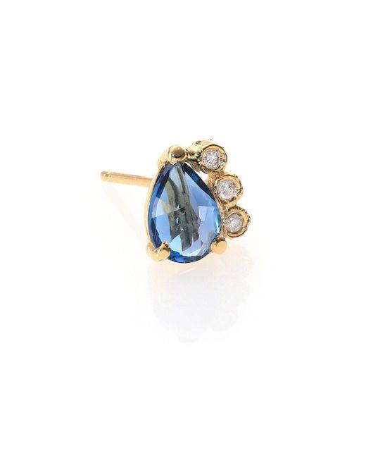 Jacquie Aiche - Blue Topaz, Diamond & 14k Yellow Gold Teardrop Single Stud Earring - Lyst