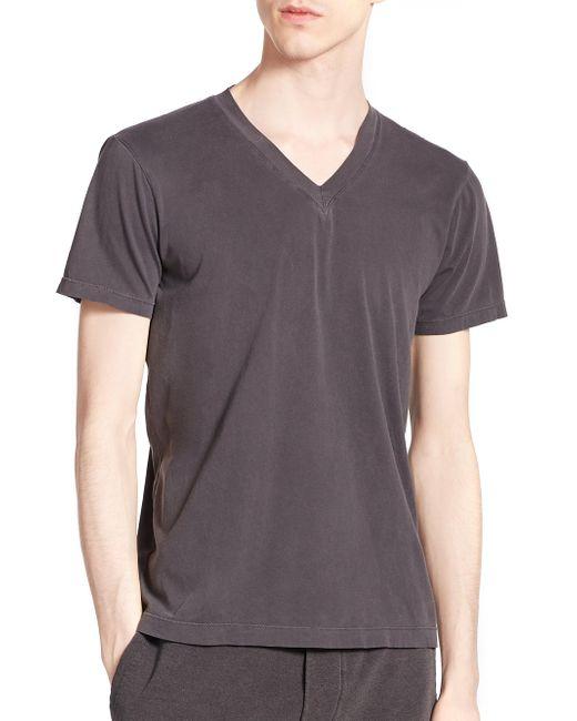 Splendid Mills | Gray Cotton V-neck Tee for Men | Lyst
