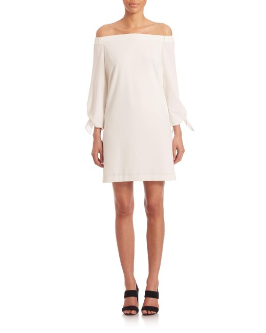 Tibi - White Off-The-Shoulder Crepe Dress - Lyst