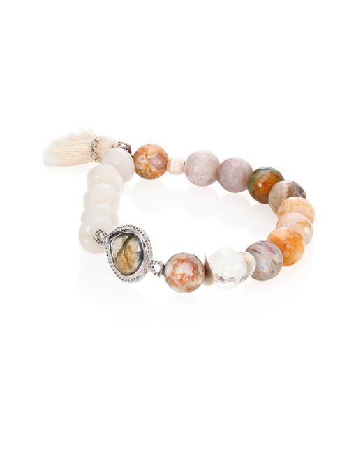 Chan Luu - Multicolor Mix Beaded Stretch Tassel Bracelet - Lyst