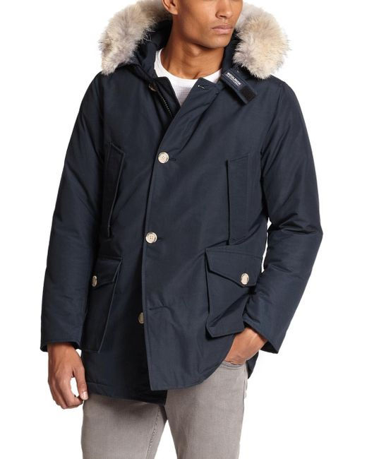 Woolrich | Blue Fur-trimmed Arctic Parka for Men | Lyst