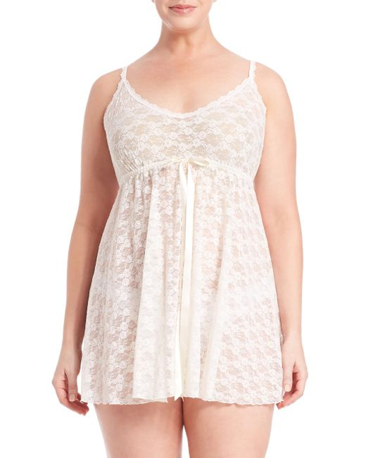 Hanky Panky - White Plus Size Peek-a-boo Lace Babydoll With G-string - Lyst