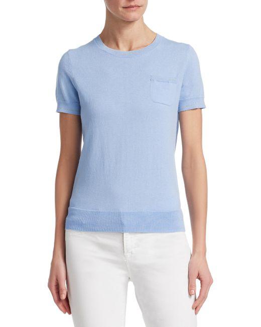 Saks Fifth Avenue - Blue Classic Short-sleeve Sweater - Lyst