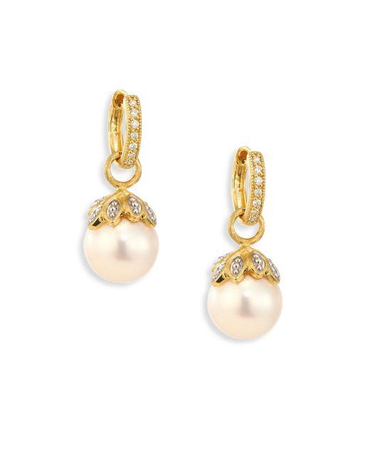 Jude Frances - Metallic Sonoma Leaf Cap 10mm White Pearl, Diamond & 18k Yellow Gold Earring Charms - Lyst