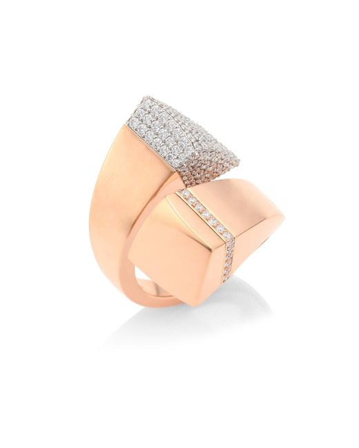 Roberto Coin - Metallic Prive Pave Diamond & 18k Rose Gold Bypass Ring - Lyst
