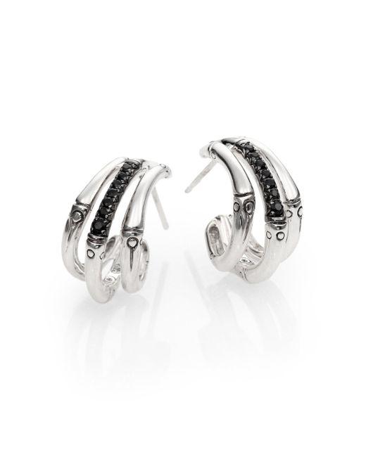 John Hardy   Metallic Bamboo Black Sapphire & Sterling Silver Bamboo Lava Triple Hoop Earrings/1   Lyst