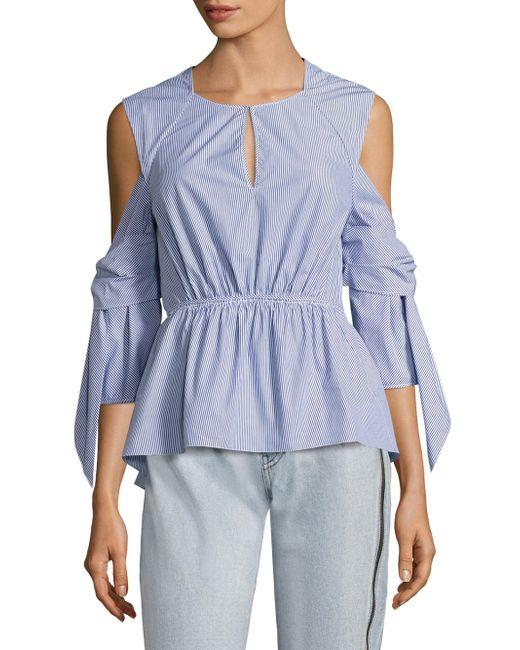 3.1 Phillip Lim   Blue Striped Cold-shoulder Peplum Shirt   Lyst