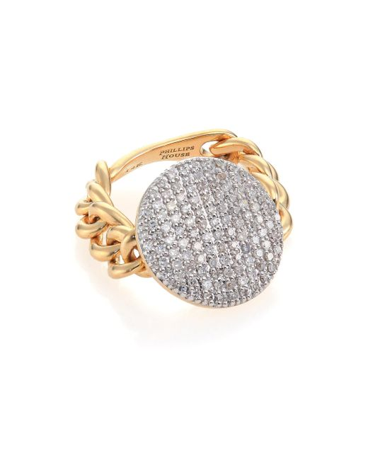 Phillips House - Metallic Affair Diamond & 14k Yellow Gold Infinity Chain Link Ring - Lyst