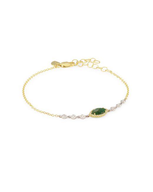 Meira T - Metallic 14k Gold & Diamond, Emerald Marquise Bracelet - Lyst
