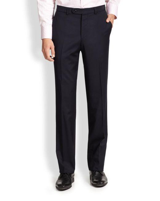 Saks Fifth Avenue - Blue Wool Dress Pants for Men - Lyst