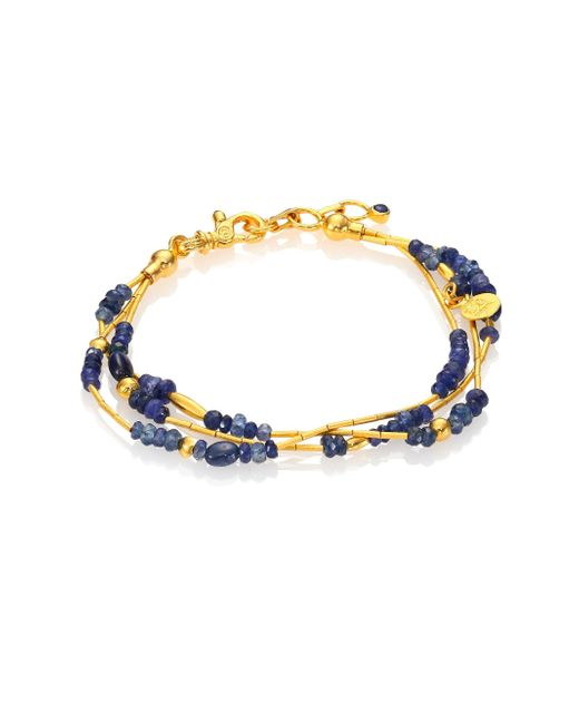 Gurhan   Metallic Delicate Rain Blue Sapphire & 24k Yellow Gold Triple-strand Bracelet   Lyst