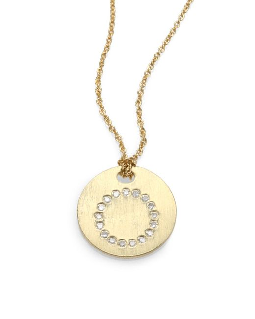 Roberto Coin - Metallic Tiny Treasures Diamond & 18k Yellow Gold Initial Pendant Necklace - Lyst
