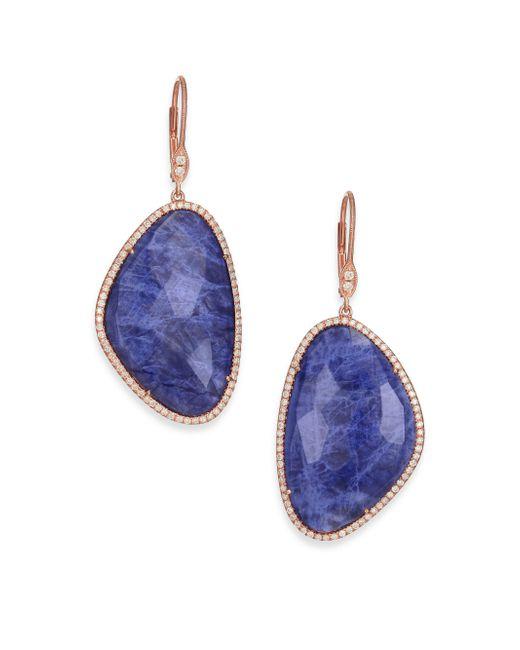 Meira T | Blue Sodalite, Diamond & 14k Rose Gold Drop Earrings | Lyst