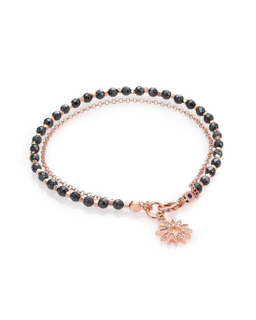 Astley Clarke   Pink Biography Hematite & White Sapphire Sun Beaded Friendship Bracelet   Lyst