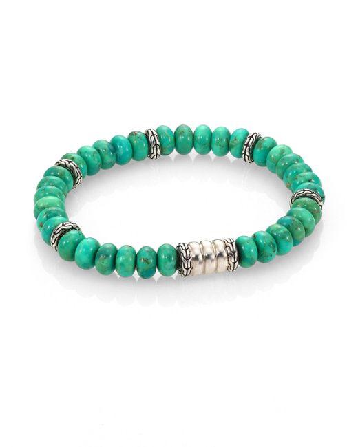 John Hardy - Batu Bedeg Sterling Silver Bracelet/mohave Green Turquoise for Men - Lyst