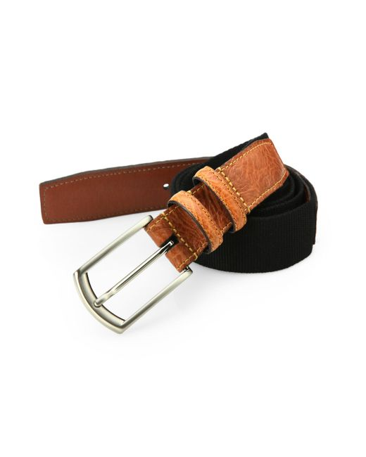Saks Fifth Avenue - Black Woven Cotton Belt for Men - Lyst