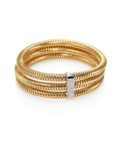 Roberto Coin | Metallic Primavera Diamond & 18k Yellow Gold Multi-row Woven Bracelet | Lyst
