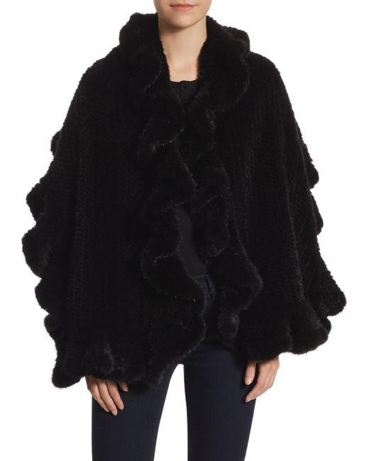 Saks Fifth Avenue - Black Knit Mink Scarf - Lyst