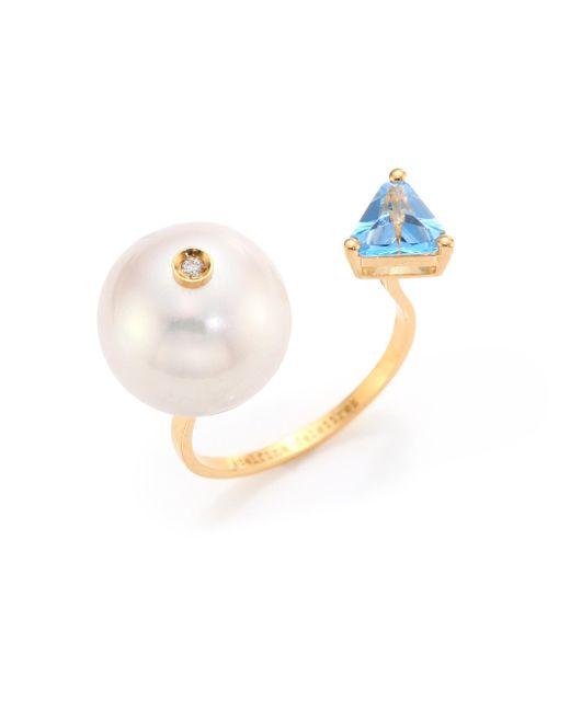 Delfina Delettrez   Blue Diamond, Pearl & Topaz Trillion Ring   Lyst