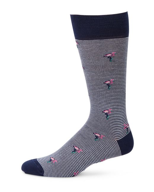 Saks Fifth Avenue - Blue Collection Striped Flamingos Mid-calf Socks for Men - Lyst