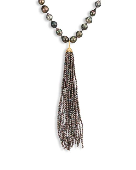 Jordan Alexander | Gray 2mm Grey Seed Pearl, Diamond & 18k Yellow Gold Tassel | Lyst