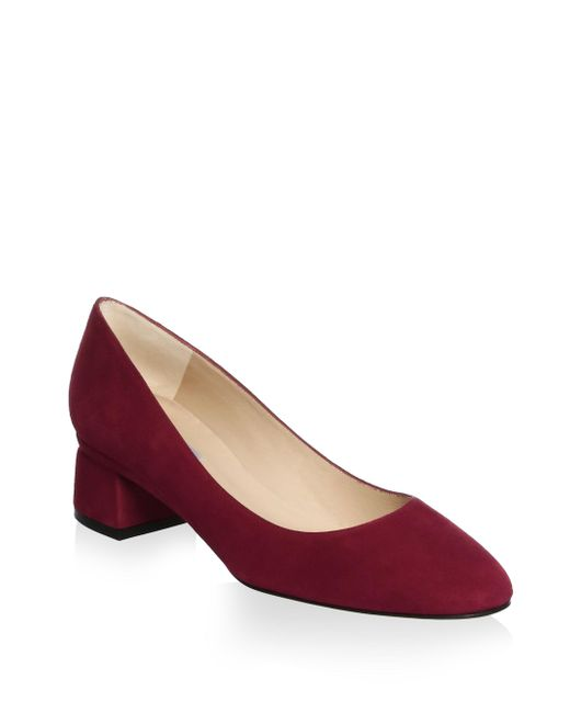 L.K.Bennett - Red Almond Toe Suede Pumps - Lyst