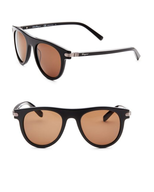 Ferragamo - Men's 51mm Round Sunglasses - Black for Men - Lyst