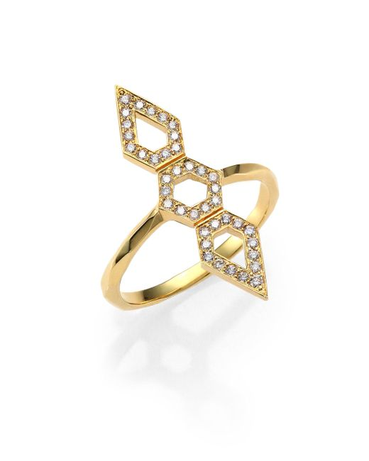 Ron Hami - Metallic Orighami Pave Diamond & 18k Yellow Gold Three-shape Totem Ring - Lyst