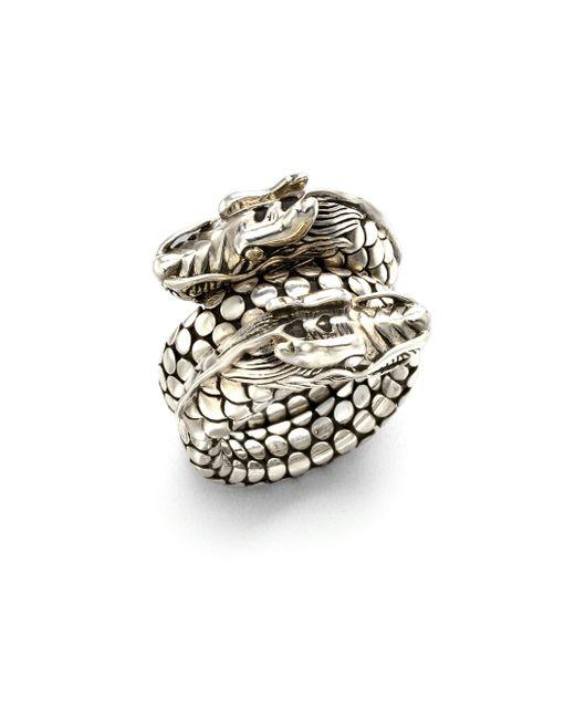 John Hardy - Metallic Naga Sterling Silver Dragon Dot Coil Ring - Lyst
