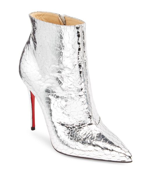 Christian Louboutin - Metallic So Kate 100 Mirrored Leather Booties - Lyst