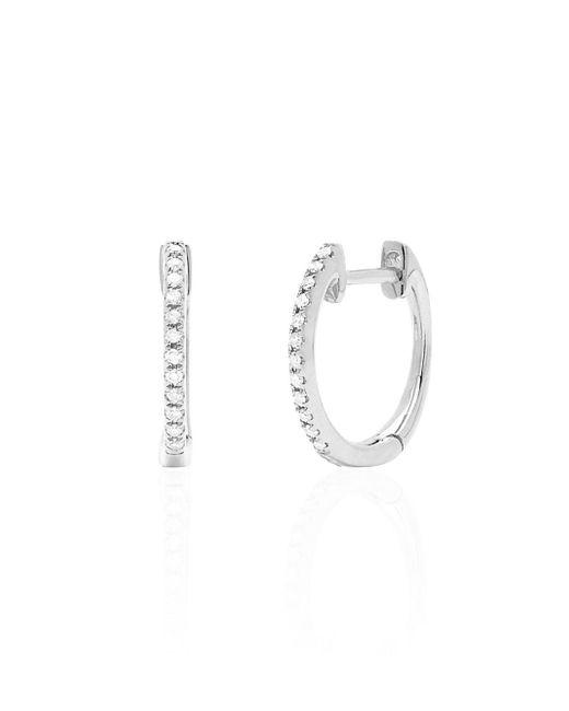 EF Collection - Metallic Diamond & 14k White Gold Huggie Hoop Earrings - Lyst