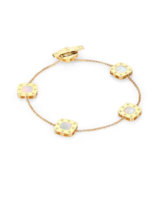 Roberto Coin | Metallic Pois Moi Mother-of-pearl & 18k Yellow Gold Station Bracelet | Lyst