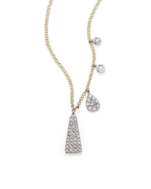 Meira T   Metallic Diamond, 14k Yellow & White Gold Triangle Pendant Necklace   Lyst