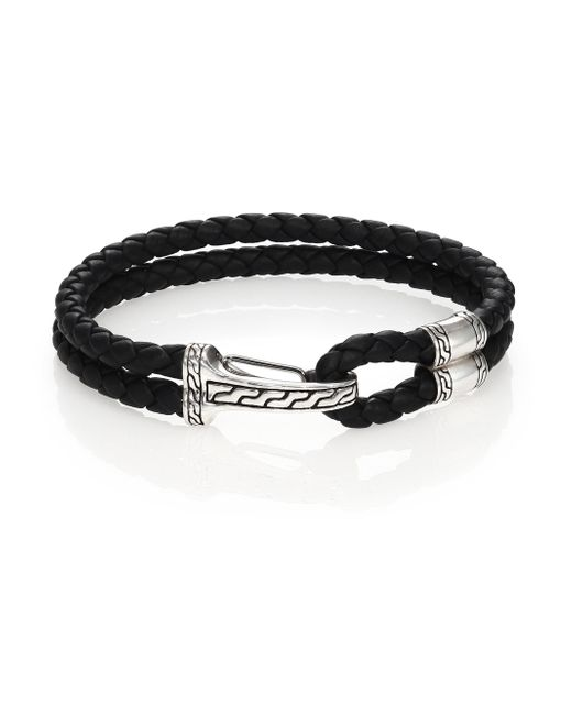 John Hardy - Black Classic Chain Silver Hook Station Leather Bracelet - Lyst