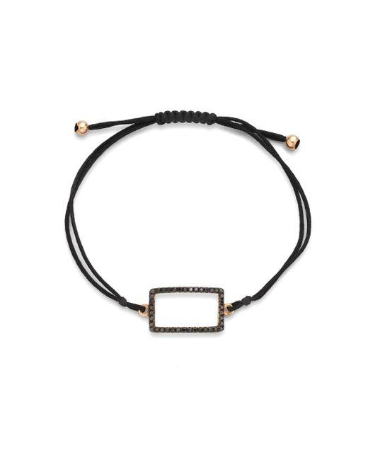 Diane Kordas | Black Diamond & 18k Rose Gold Rectangle Cord Bracelet | Lyst