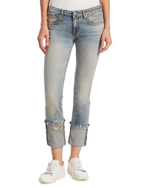 R13 - Multicolor Kate Skinny Frayed Cuff Jeans - Lyst