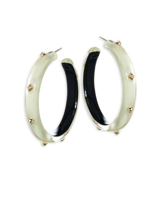 Alexis Bittar   White Lucite Studded Hoop Earrings/2   Lyst