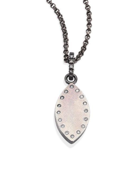 Rene Escobar - Metallic Small Diamond & Sterling Silver Leaf Pendant Necklace - Lyst