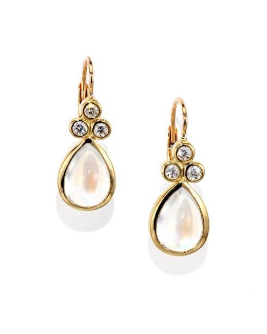 Temple St. Clair | Metallic Royal Blue Moonstone, Diamond & 18k Yellow Gold Teardrop Earrings | Lyst