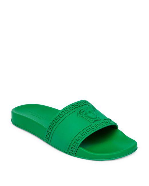 Versace - Green Medusa Cardinal Slide Sandals - Lyst