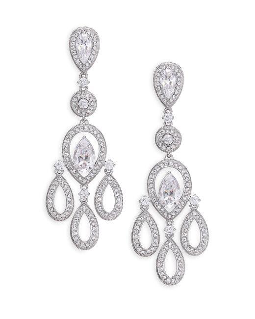Adriana Orsini - Metallic Pave Pear Chandelier Earrings/silvertone - Lyst