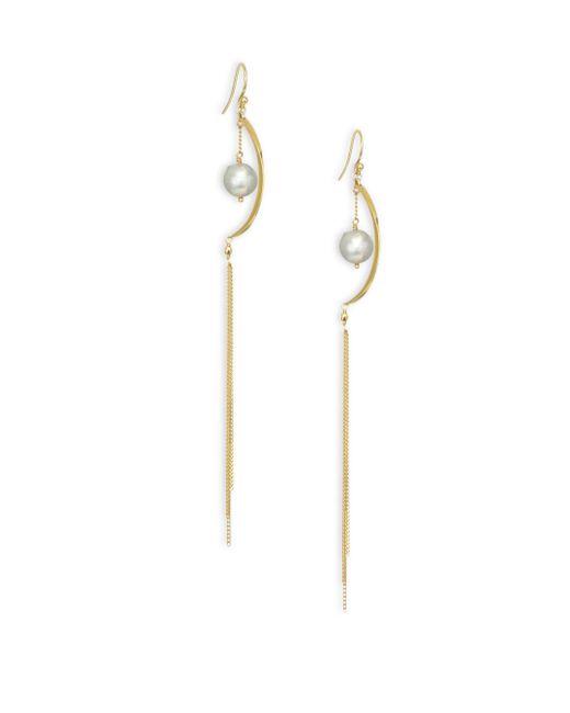 Chan Luu - Metallic Grey Pearl 18k Gold Chain Tassel Earrings - Lyst